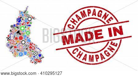 Education Champagne Province Map Mosaic And Made In Textured Stamp. Champagne Province Map Mosaic Co