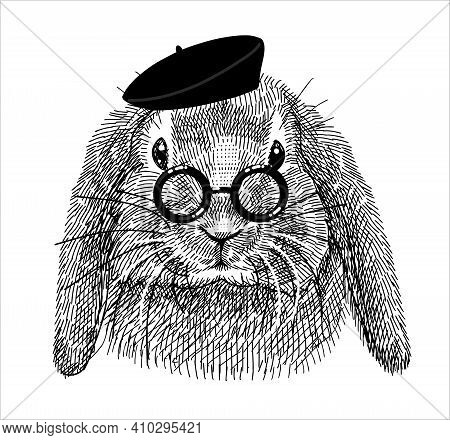 The Character Is A Rabbit In A Black Beret And Round Glasses, A Creative Nerd. Sketch Illustration F