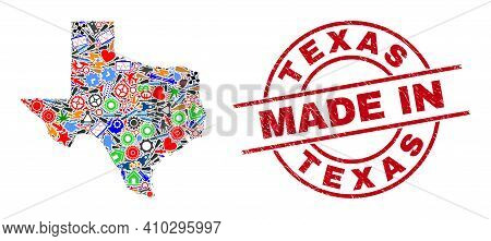 Education Mosaic Texas State Map And Made In Grunge Rubber Stamp. Texas State Map Mosaic Composed Wi