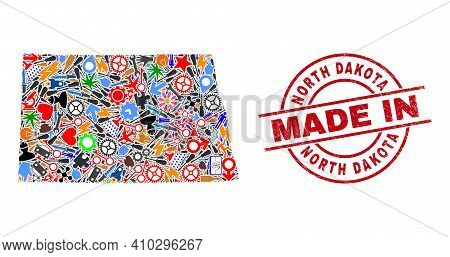 Service North Dakota State Map Mosaic And Made In Distress Stamp Seal. North Dakota State Map Collag