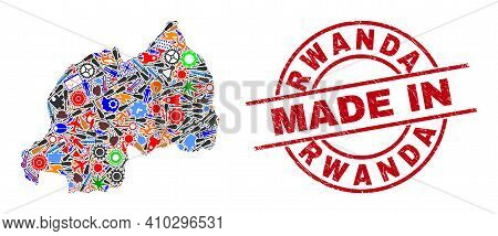 Engineering Rwanda Map Mosaic And Made In Distress Rubber Stamp. Rwanda Map Collage Created From Spa