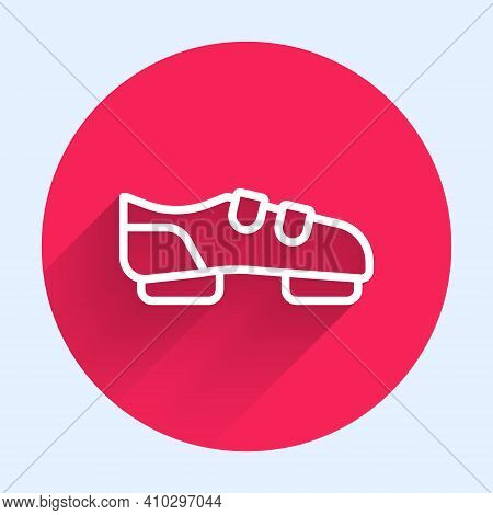 White Line Triathlon Cycling Shoes Icon Isolated With Long Shadow. Sport Shoes, Bicycle Shoes. Red C