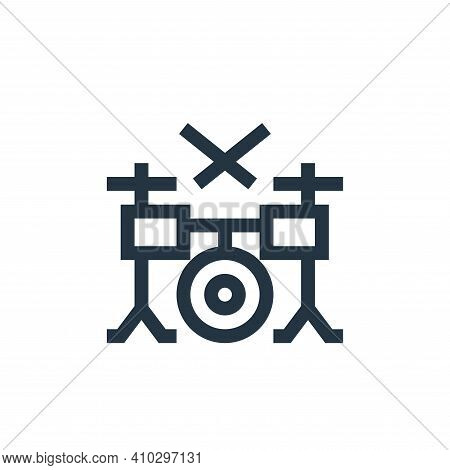 drum set icon isolated on white background from rock and roll collection. drum set icon thin line ou
