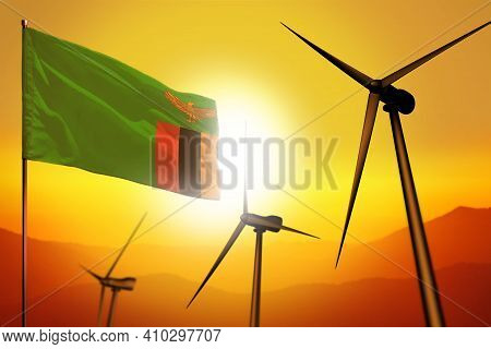 Zambia Wind Energy, Alternative Energy Environment Concept With Turbines And Flag On Sunset - Altern