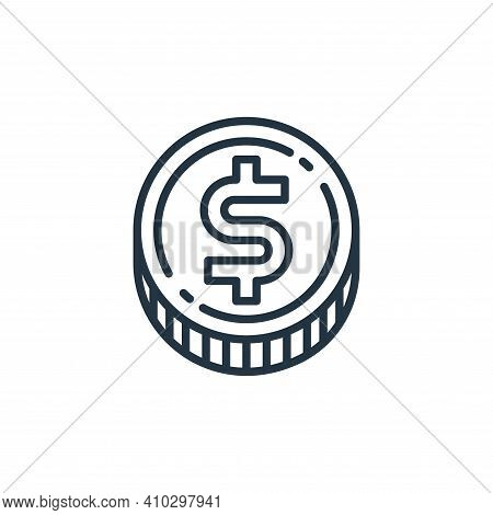 dollar coin icon isolated on white background from money and currency collection. dollar coin icon t