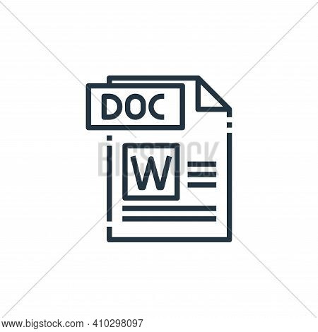 doc file icon isolated on white background from file type collection. doc file icon thin line outlin