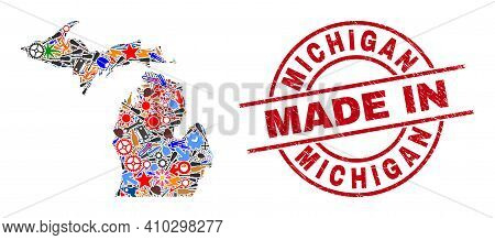 Education Michigan State Map Mosaic And Made In Grunge Rubber Stamp. Michigan State Map Mosaic Compo