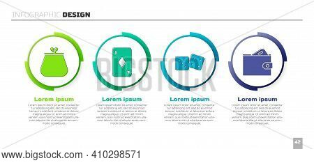 Set Wallet, Playing Card With Diamonds, Game Dice And Wallet With Money. Business Infographic Templa