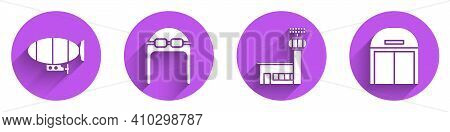 Set Airship, Aviator Hat With Goggles, Airport Control Tower And Aircraft Hangar Icon With Long Shad