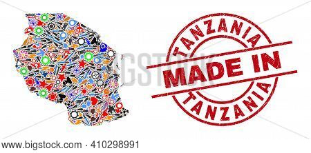 Industrial Tanzania Map Mosaic And Made In Textured Rubber Stamp. Tanzania Map Mosaic Composed With