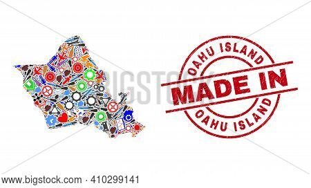 Service Mosaic Oahu Island Map And Made In Grunge Stamp. Oahu Island Map Mosaic Formed With Spanners