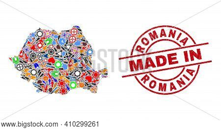 Component Mosaic Romania Map And Made In Distress Rubber Stamp. Romania Map Mosaic Designed With Wre