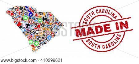 Development South Carolina State Map Mosaic And Made In Grunge Rubber Stamp. South Carolina State Ma