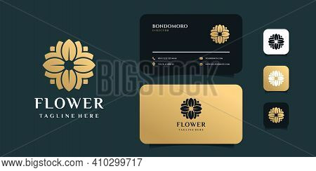 Luxury Flower Beauty Logo And Business Card Design Vector Template. Logo Can Be Used For Icon, Brand