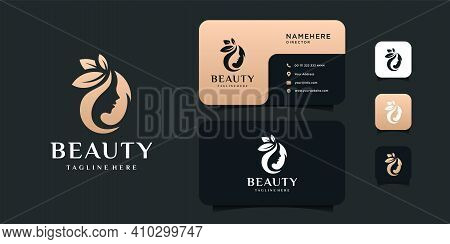 Beauty Woman Hair Logo Design And Business Card Vector Illustration Template. Logo Can Be Used For I