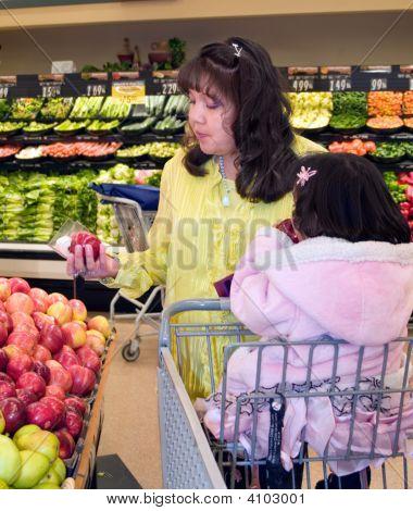 Native American Woman Shopping Produce