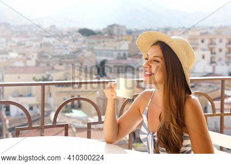 Coffee Ads. Beautiful Woman Take Cappuccino With Italian Landscape On Background. Copy Space For Adv