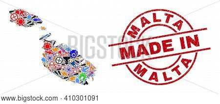 Industrial Mosaic Malta Map And Made In Distress Stamp Seal. Malta Map Composition Formed With Wrenc