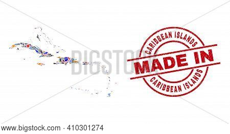 Development Caribbean Islands Map Mosaic And Made In Textured Stamp Seal. Caribbean Islands Map Coll