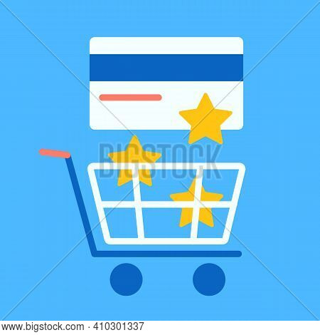 Reward Color Icon For Purchases From A Credit Card In Stores. Star Bonuses Are Poured From The Bank
