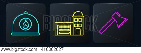 Set Line Firefighter Helmet, Firefighter Axe And Building Of Fire Station. Black Square Button. Vect