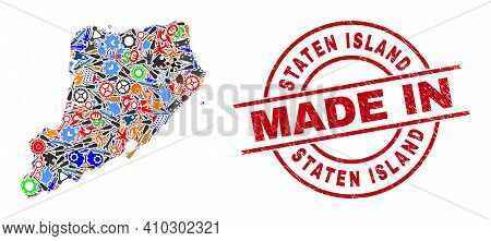 Science Staten Island Map Mosaic And Made In Distress Stamp Seal. Staten Island Map Mosaic Composed