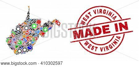 Component West Virginia State Map Mosaic And Made In Textured Stamp Seal. West Virginia State Map Mo