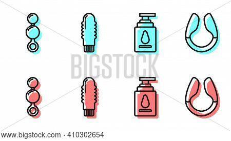 Set Line Personal Lubricant, Anal Beads, Dildo Vibrator And Dildo Vibrator Icon. Vector