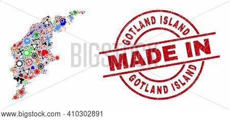 Component Mosaic Gotland Island Map And Made In Scratched Stamp Seal. Gotland Island Map Mosaic Comp