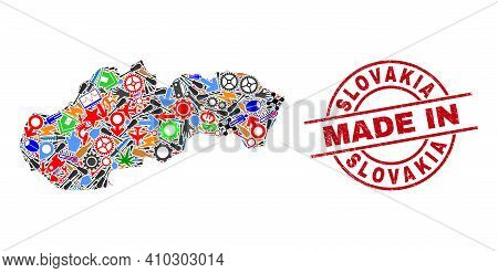 Industrial Mosaic Slovakia Map And Made In Grunge Rubber Stamp. Slovakia Map Composition Created Wit