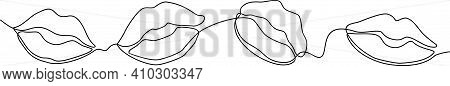 One Line Lips Isolated On White. Continuous Line Female Lips, Vector Illustration. Continuous One Li