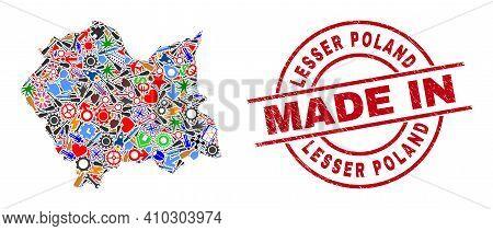Technical Mosaic Lesser Poland Voivodeship Map And Made In Scratched Seal. Lesser Poland Voivodeship