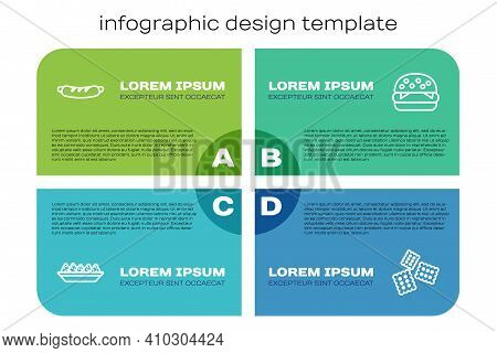 Set Line Nachos In Plate, Hotdog Sandwich, Cracker Biscuit And Burger. Business Infographic Template
