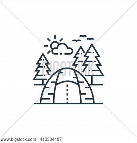 camping icon isolated on white background from tourism collection. camping icon thin line outline li