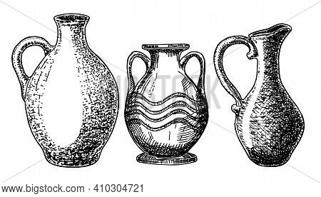 Earthenware And Ceramic Vector Sketch Set.vector Isolated Illustration Jug And Other Earthenware. Ic