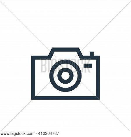 camera icon isolated on white background from web essentials collection. camera icon thin line outli