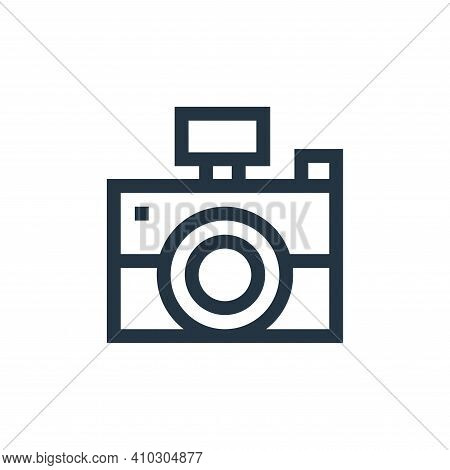 camera icon isolated on white background from advertisement collection. camera icon thin line outlin