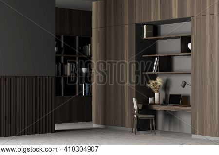 Home Office. Cabinet Interior With Table, A Bookshelf, A Chair And Computer. Work At Home Concept. 3