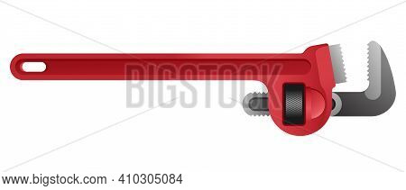 Spanner Pipe Wrench - Hand Fixing Tool For Car Fixing Or Plumbing Works. Isolated Vector Illustratio
