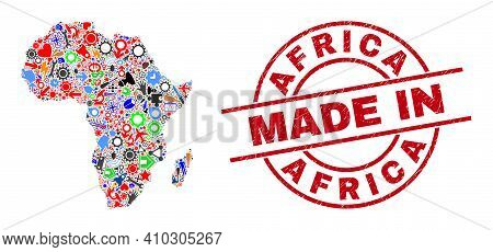 Education Mosaic Africa Map And Made In Grunge Rubber Stamp. Africa Map Mosaic Created With Wrenches