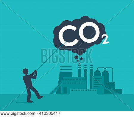 Carbon Capture Technology - Net Co2 Footprint Development Strategy. Vector Illustration With Metapho