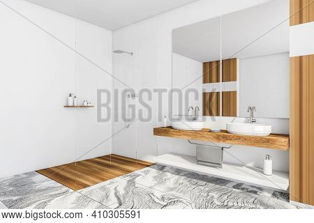 White Wooden Bathroom With Two Washbasins And Glass Shower, Side View. Minimalist Design Of Modern B