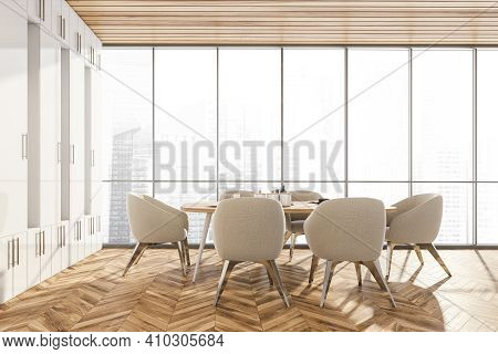 Wooden Dining Room With City View. Dining Table With Dishes And Six Chairs, Eating Room With New Fur