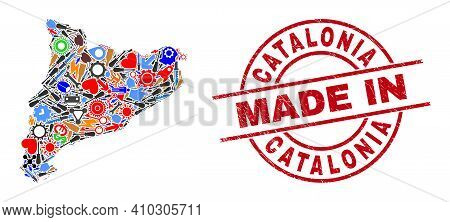Industrial Mosaic Catalonia Map And Made In Scratched Stamp Seal. Catalonia Map Mosaic Designed With