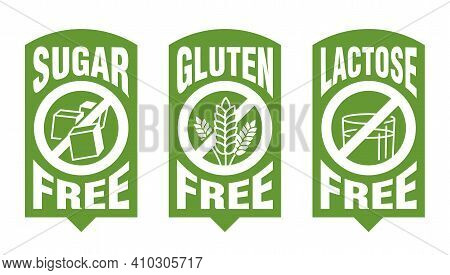Lactose Free Flat Green Sticker, Sugar Free, Gluten Free - Set Of Food Packaging Decoration Element