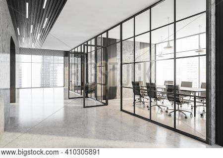Office Hall Corridor And Marble Room With Black Armchairs And Wooden Table. Office Minimalist Interi