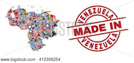 Education Mosaic Venezuela Map And Made In Grunge Stamp. Venezuela Map Mosaic Formed With Wrenches,