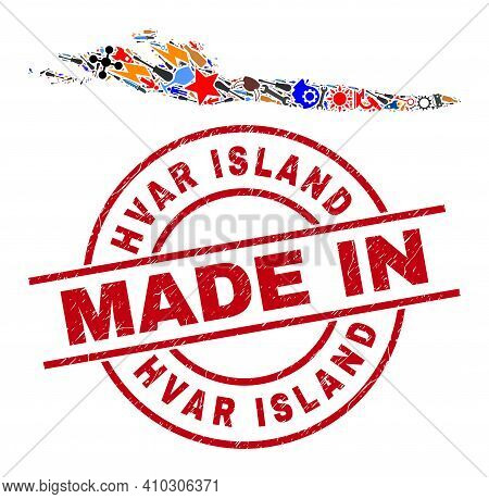 Industrial Hvar Island Map Mosaic And Made In Distress Rubber Stamp. Hvar Island Map Mosaic Formed W