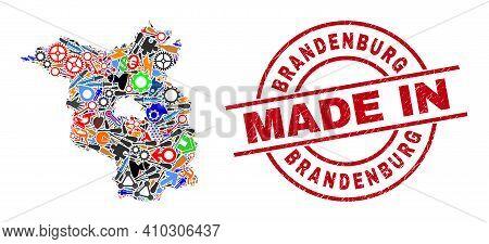 Technical Brandenburg Land Map Mosaic And Made In Scratched Stamp. Brandenburg Land Map Collage Desi