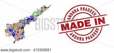 Engineering Mosaic Andhra Pradesh State Map And Made In Distress Stamp Seal. Andhra Pradesh State Ma